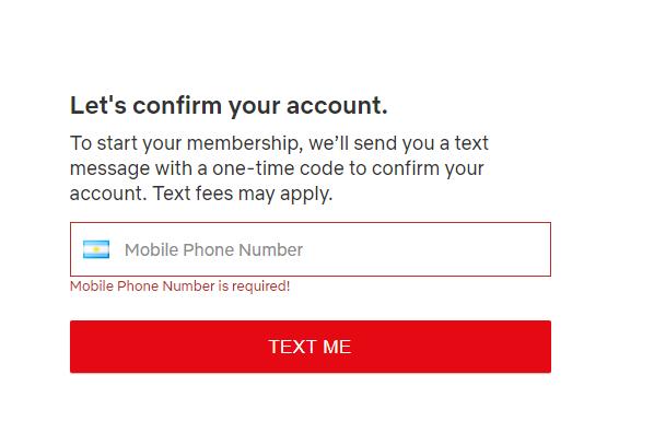 阿根廷Netflix手机号码验证