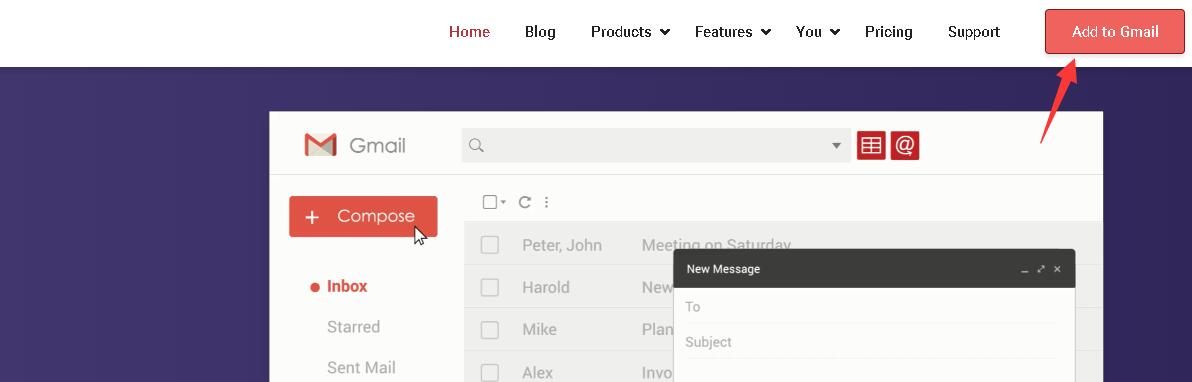 打开Gmass的官网之后,右上方会有一个Add gmail