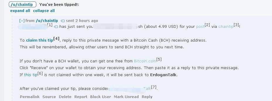 在reddit收到了欧洲网友通过chaintip打赏的5美元比特币现金( bitcoin cash)