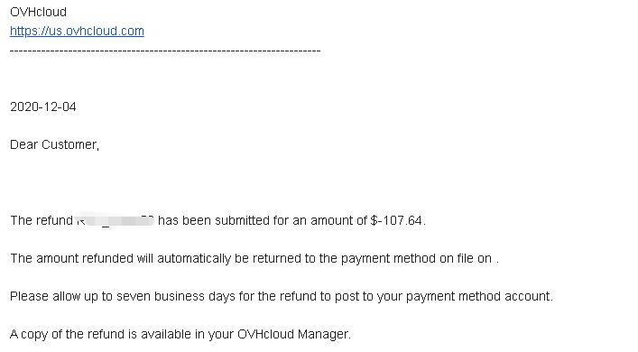 OVH去年黑五特价机17.88美元被错扣35.88已经被纠正